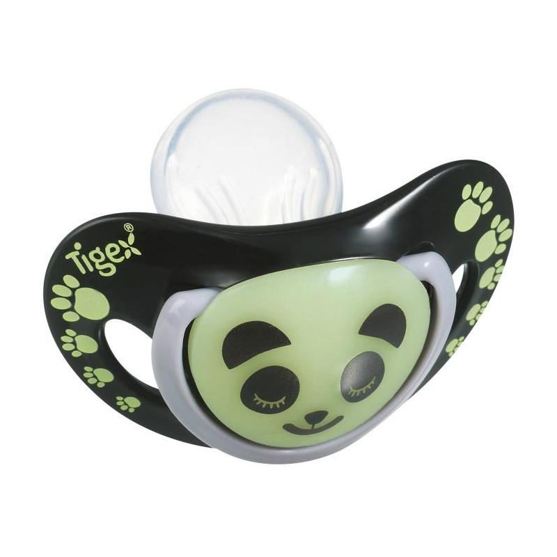 TIGEX 2 Sucettes Smart Night en Silicone Taille 6-18 Mois Panda Phosphorescente