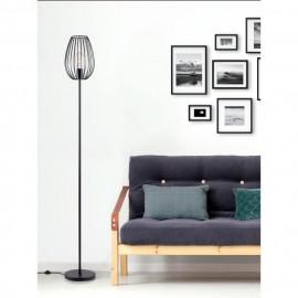 MADDY Lampadaire en métal - Ø 22 x H 160 cm - Noir - Ampoule LED E27 40W fournie
