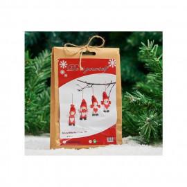Set de 4 lutins de Noël a composer en feutrine - H 19 cm - Rouge et blanc