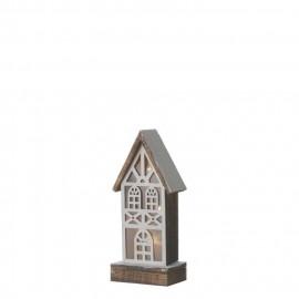 Maison de Noël a piles - 13 x 9 x 31 cm - Marron - 2 piles AA non fournies