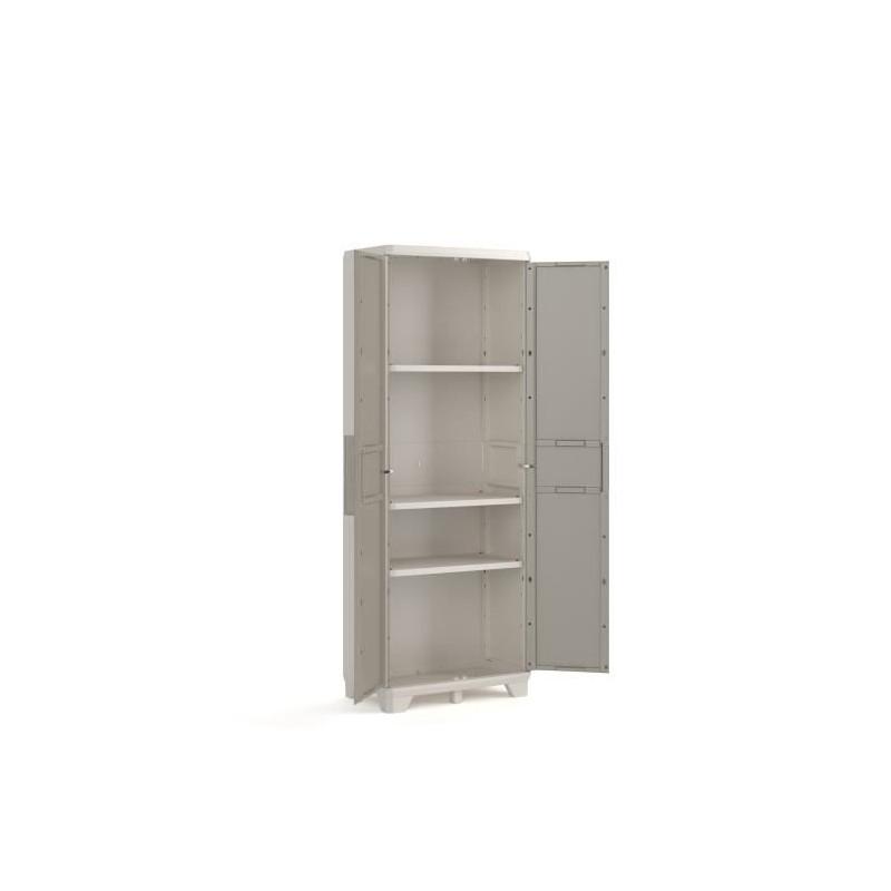 KETER-Armoire-haute-de-rangement-Wood-Grain-Texture-bois-2-portes-3-eta miniature 2