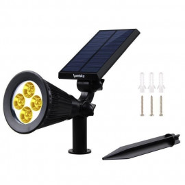 LUMI JARDIN Projecteur Spot lumineux solaire a LED Spiky - Lumiere blanc chaud - 34 cm