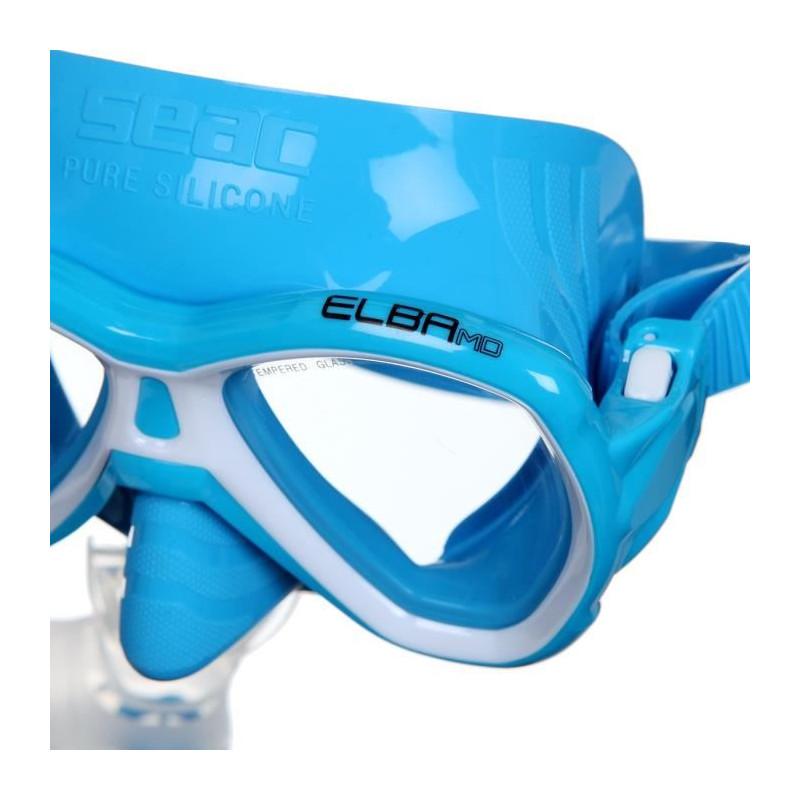 SEAC-Masque-et-Tuba-de-plongee-Elba-Medium-Bleu miniature 2