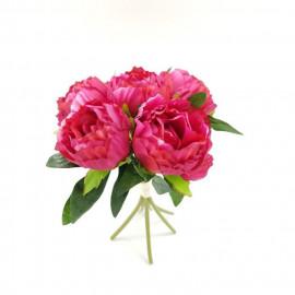 Bouquet déco de pivoines - H 30 cm - Rose vif