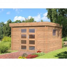 Abri de jardin Loris BNDIP - Forme carré - 276 x 276 cm - Porte double - Sapin du Nord - Bois massif - Coloris : bois traité …