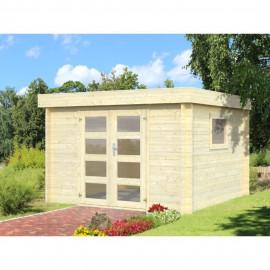 Abri de jardin Loris - Forme carré - 276 x 276 cm - Porte double - Sapin du Nord - Bois massif - Coloris : bois blanc