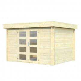 Abri de jardin Ludo - Forme rectangulaire - 280 x 234 cm - Porte double - Sapin du Nord - Bois massif - Coloris : bois blanc