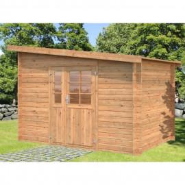 Abri de jardin Naves BNDIP - Forme rectangulaire - 300 x 200 cm - Porte double - Sapin du Nord - Bois massif - Traité chene doré