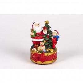 Pere Noël avec enfant et sapin - Polyrésine - LED clignotant et musical - H 13,5 x Ø 10 cm