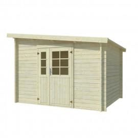 Abri de jardin Labeaume - Forme rectangulaire - 300 x 250 cm - Porte double - Sapin du Nord - Bois massif - Coloris : bois blanc