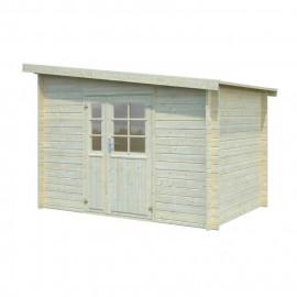 Abri de jardin Naves - Forme rectangulaire - 300 x 200 cm - Porte double - Sapin du Nord - Bois massif - Coloris : bois blanc
