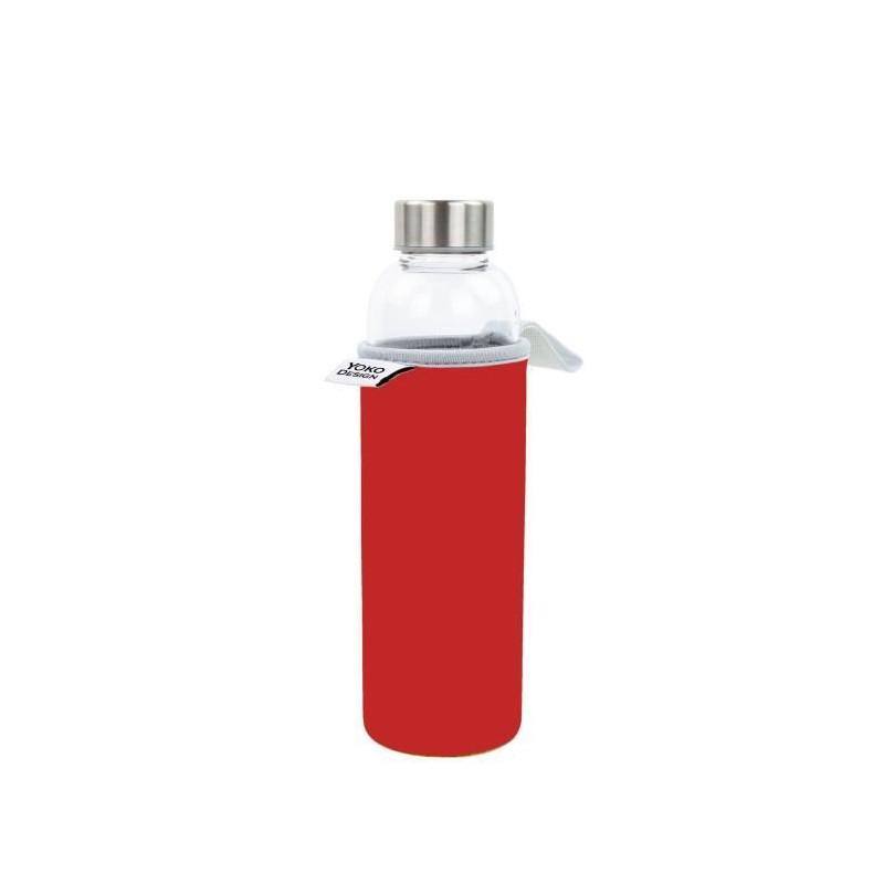 YOKO-DESIGN-Glass-bottle-avec-pochette-neoprene-Rouge-500-ml
