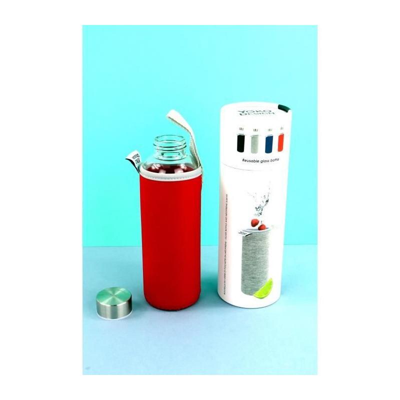YOKO-DESIGN-Glass-bottle-avec-pochette-neoprene-Rouge-500-ml miniature 3