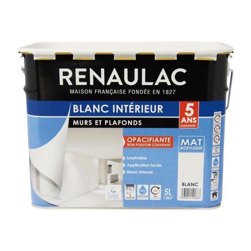 Renaulac Peinture Murs Et Plafonds Acrylique 5 L Blanc
