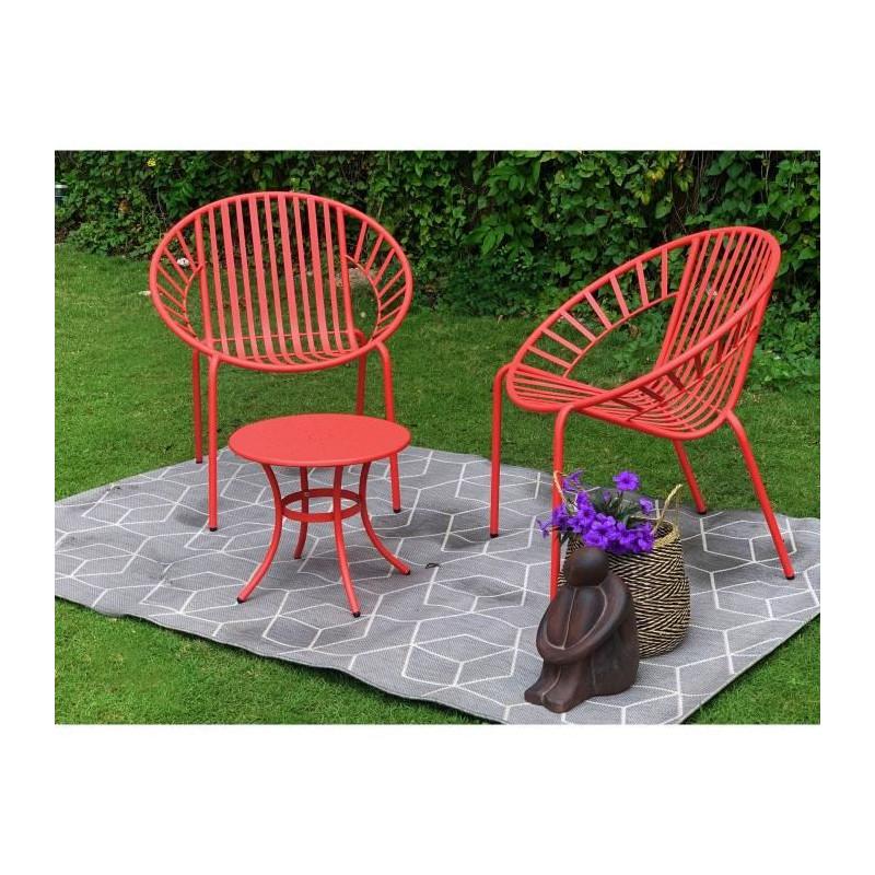 Détails sur OPOA Salon de jardin 2 places - 2 fauteuils et une table basse  en métal - Corail