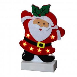 Personnage de Noël : Pere Noël LED en feutrine - H 25 x 11,5 x 5 cm