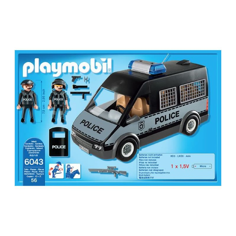 playmobil 6043 fourgon de police avec sirene et gyrophare ebay. Black Bedroom Furniture Sets. Home Design Ideas