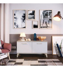 Meuble a chaussures blanc mat 2 portes - Style contemporain - L 100 cm