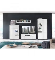 VISION vitrine LED style contemporain mélaminée blanc mat et brillant - L 80 x H 193 cm