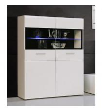 SLATE Vitrine contemporain blanc brillant et noir + LED - L 100 cm