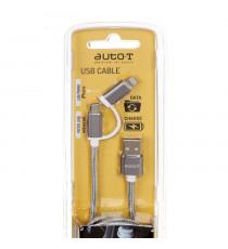 AUTO-T Câble plat 2 en 1 : micro-USB / IPhone 5&6