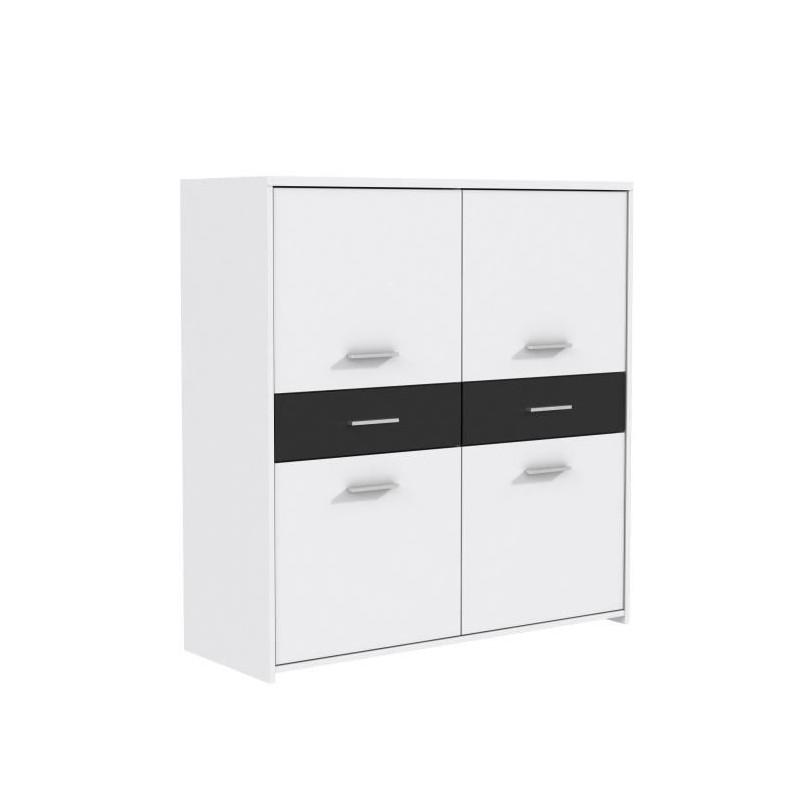 FINLANDEK Buffet haut ELÄMÄ contemporain en bois aggloméré blanc et noir - L