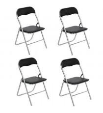 MANGO Lot de 4 Chaises pliantes - Métal noir - L 44 x P 46,5 x H 80 cm