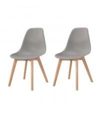 SACHA Lot de 2 chaises de salle a manger design scandinave - Gris