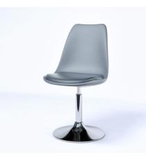 POPPY Chaise de salle a manger pivotante - Simili gris - Contemporain - L 48,5 x P 53 cm