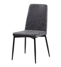 Chaise de salle a manger pieds en métal noir - Revetement simili PU gris - Style industriel - L 52 x P 52 cm