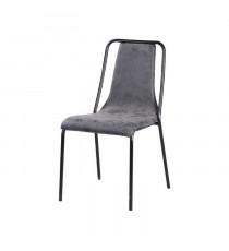 Chaise de salle a manger pieds en métal noir - Revetement simili PU gris - Style industriel - L 47 x P 56 cm