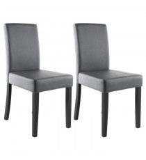 CLARA Lot de 2 Chaises de salle a manger - Simili gris - Classique - L 43 x P 45 cm