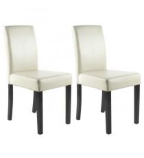 CLARA Lot de 2 chaises de salle a manger - Simili ivoire - Classique - L 43 x P 45 cm