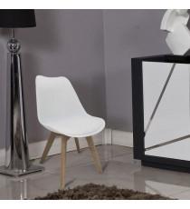 BJORN Chaise de salle a manger - Simili blanc - Scandinave - L 48,3 x P 61 cm