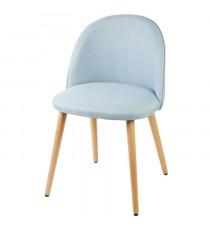MACARON chaise de salle a manger - Tissu bleu pastel - Scandinave - L 50 x P 50 cm