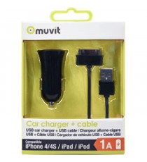 MUVIT SPRING Pack Chargeur Voiture 1 USB 1A + Câble 30 PIN 1M 1A Noir