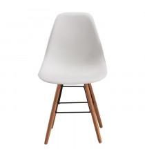 RENA Lot de 2 chaises salle a manger - Blanc + Pieds bois hetre massif - Style scandinave - L52 x P46,5 cm