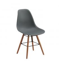 RENA Lot de 2 chaises salle a manger - Gris + Pieds bois hetre massif - Scandinave - L 52 x P 46,5 cm