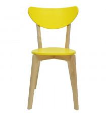 SMILEY Lot de 2 chaises de salle a manger en bois coloris bois naturel et jaune - Scandinave - L 37,5 x P 39,5 cm