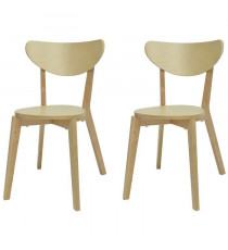SMILEY Lot de 2 chaises de salle a manger en bois coloris bois naturel - Scandinave - L 37,5 x P 39,5 cm