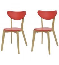 SMILEY Lot de 2 chaises de salle a manger en bois coloris bois naturel et rouge - Scandinave - L 37,5 x P 39,5 cm
