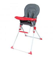 BAMBIKID Chaise haute fixe - Des 6 mois - Mixte - Gris et rouge