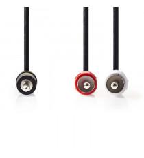 NEDIS CAGP22200BK100 Câble Audio Stéréo | 3,5 mm Mâle - 2x RCA Mâles | 10 m | Noir