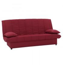 MILA Banquette clic clac 3 places - Tissu rouge - Slyle contemporain - L 190 x P92 cm