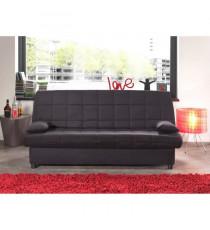 STARO Banquette clic-clac 3 places - Tissu noir - Style contemporain - L185 x P 88 cm