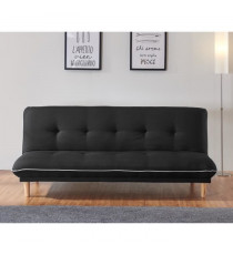HELLA Banquette clic clac 3 places - Tissu noir - Style contemporain - L 193 x P 95 cm
