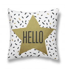 TODAY Coussin - Gold is Black - Hello - 40x40cm - Blanc/Bronze
