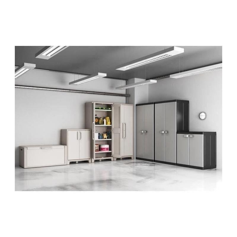 KIS-Armoire-de-rangement-utilitaire-Logico-XL-89-x-54-x-182-cm-Noir-et-gris miniature 2