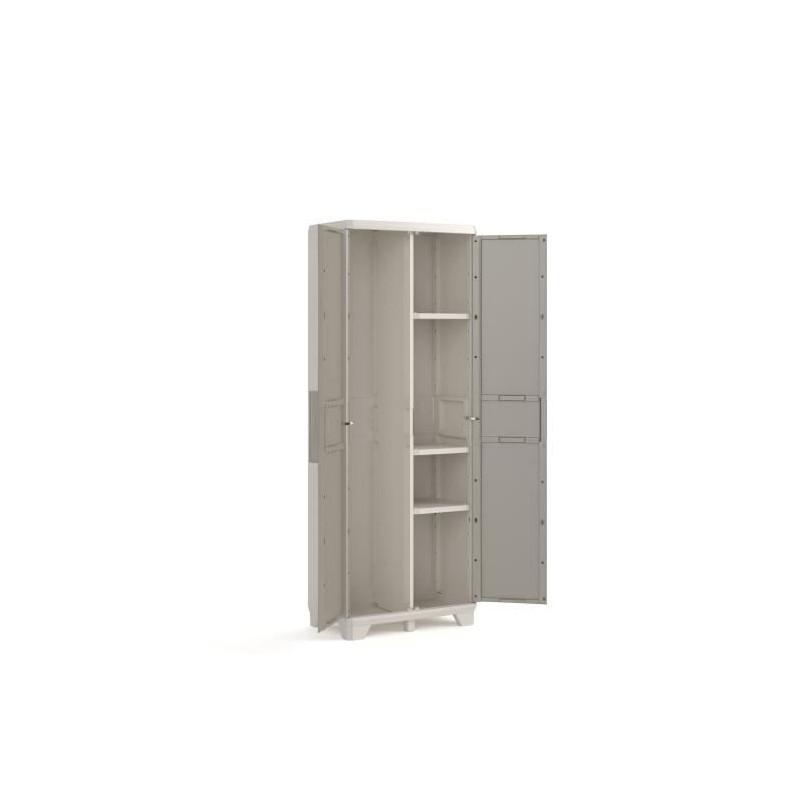 KETER-Armoire-haute-de-rangement-Wood-Grain-Texture-bois-2-portes-piedsaj miniature 3