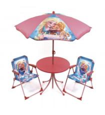 LA REINE DES NEIGES Ensemble de jardin / Camping enfant (table, 2 chaises et parasol)